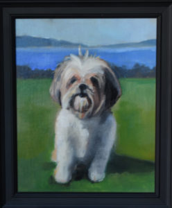 Norman at the Beach pet portrait painting by S. Brooke Anderson