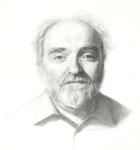 Dr. Michael W. Higgins portrait painting by S. Brooke Anderson